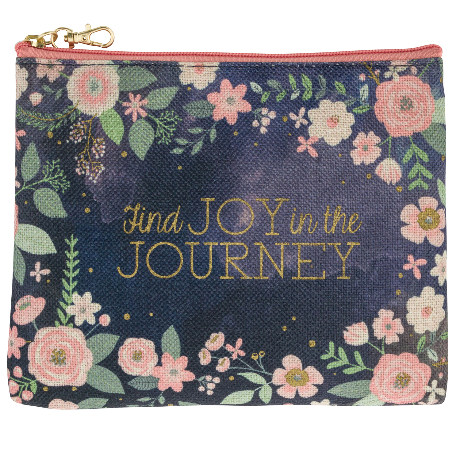 Charcoal Floral Carry All Pouch