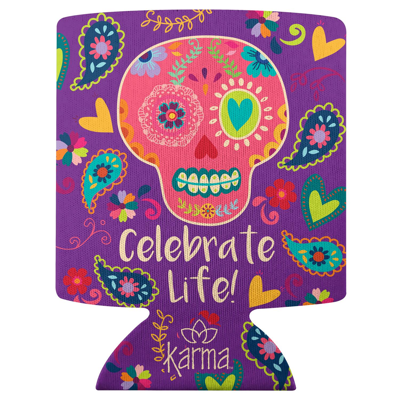 Celebrate Life Skull Can Cooler