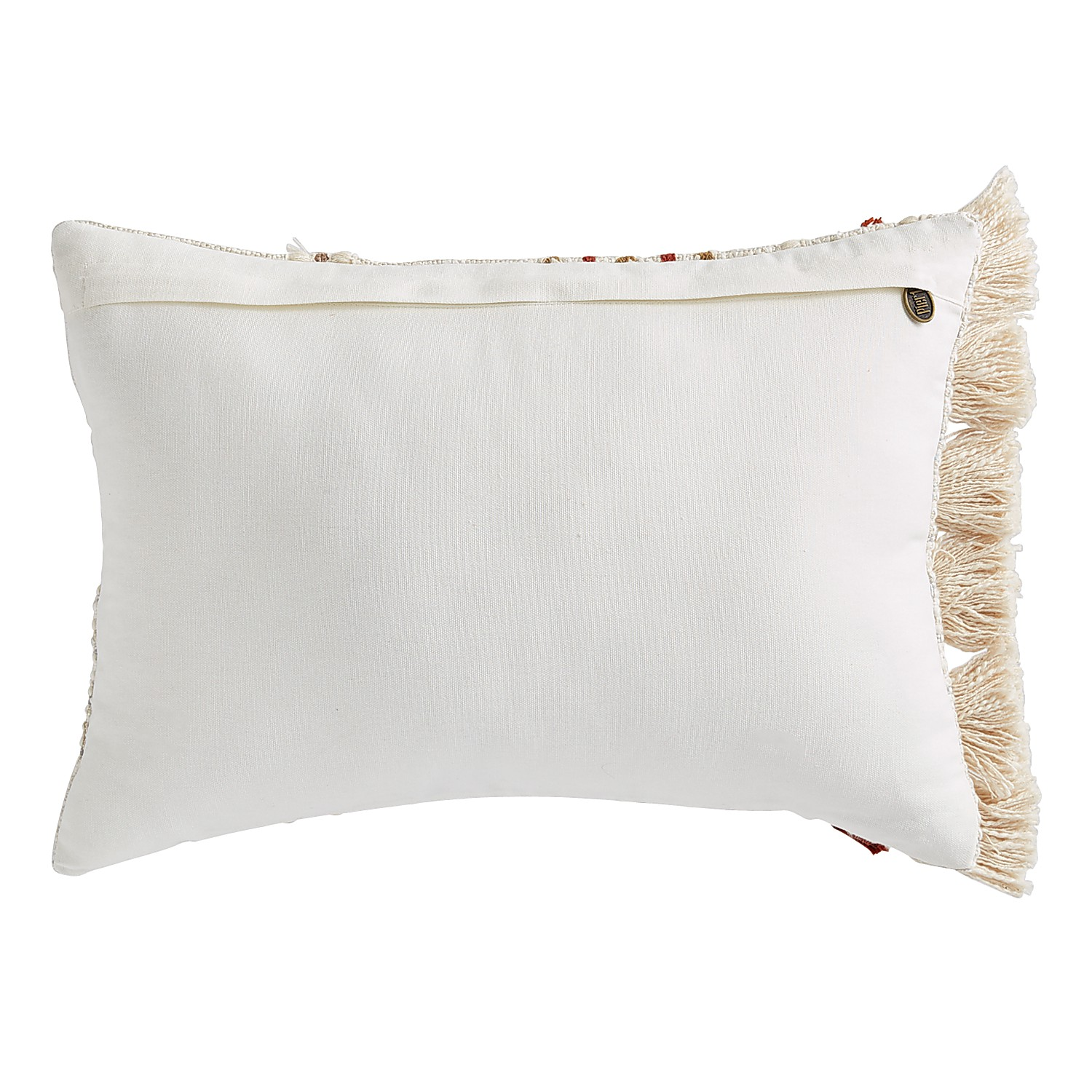 Rust & Ivory Lumbar Pillow with Tassels