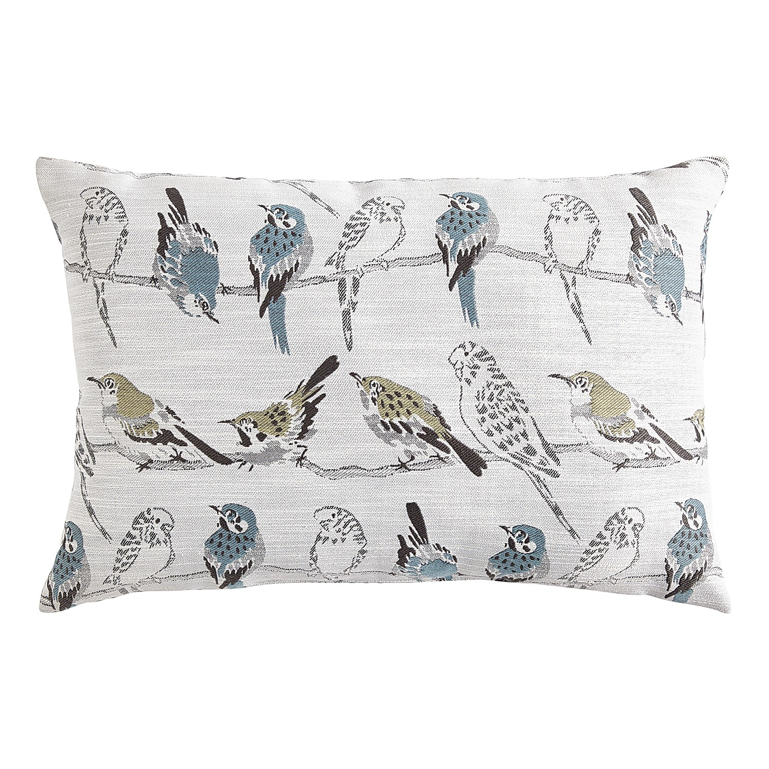 Jacquard Birds Blue & Green Lumbar Pillow