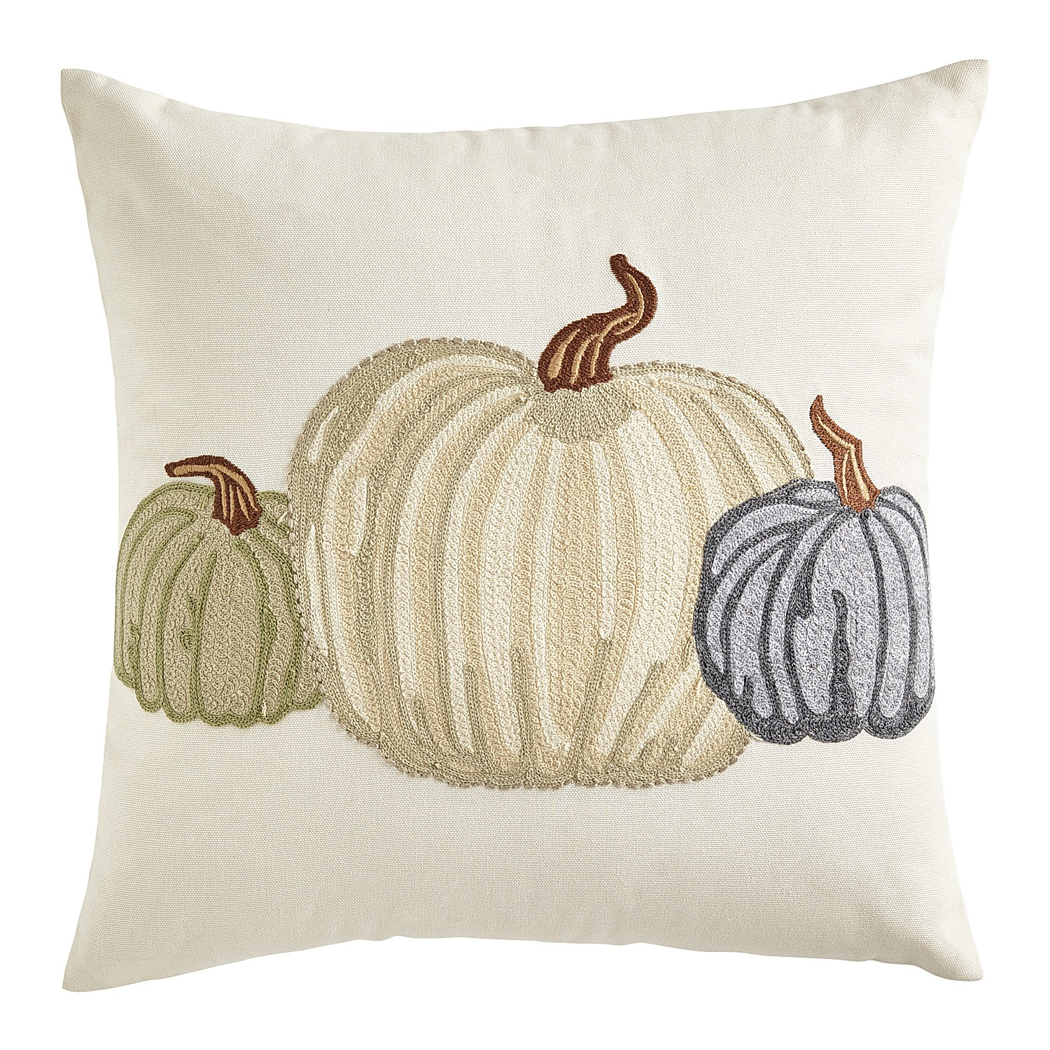Embroidered White Pumpkin Pillow