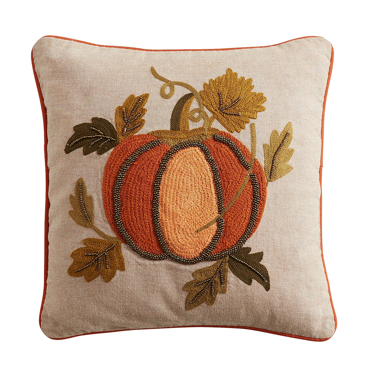 Embroidered & Beaded Pumpkin Pillow