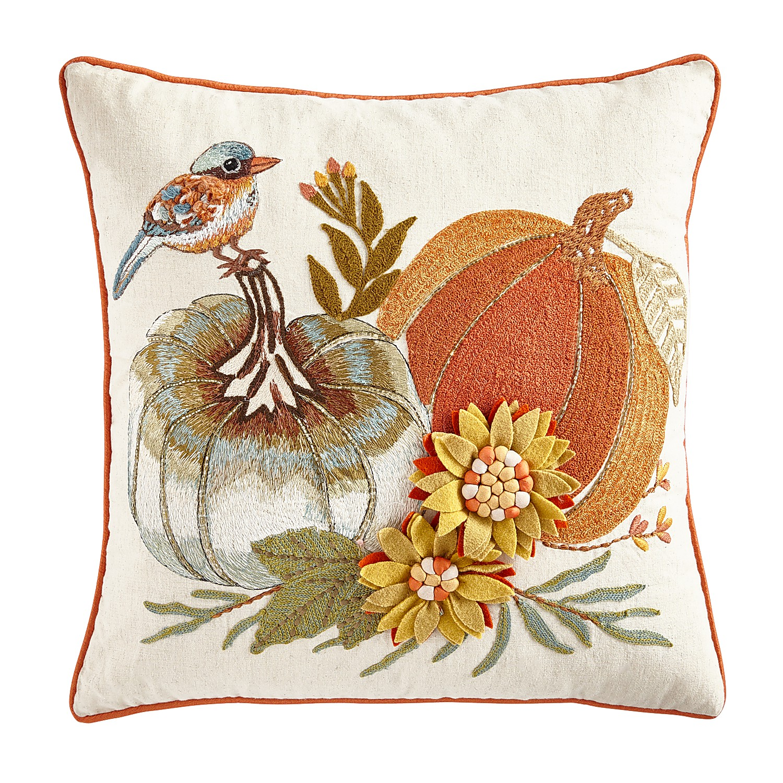 Embroidered Pumpkins & Sunflowers Pillow