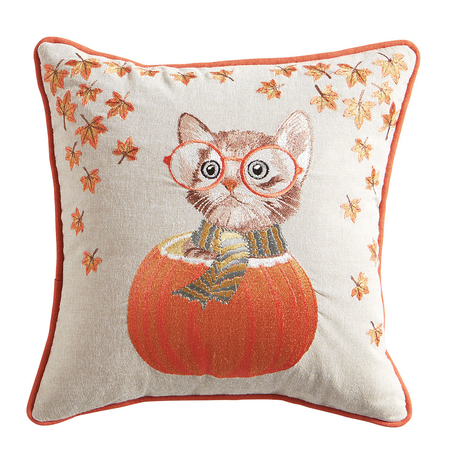 Cat in Pumpkin Pillow