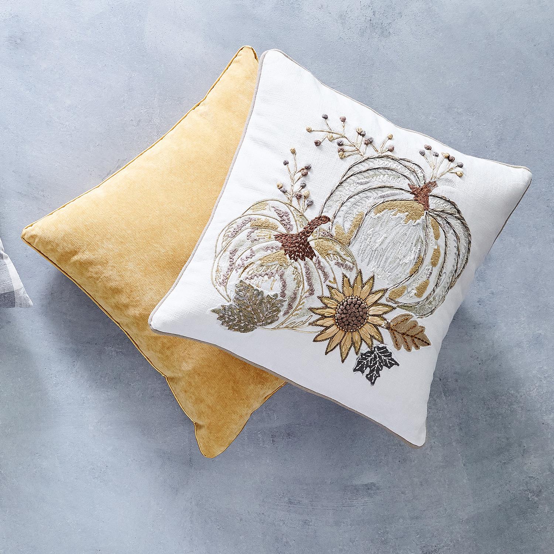 Gold Pumpkin Flowers Pillow