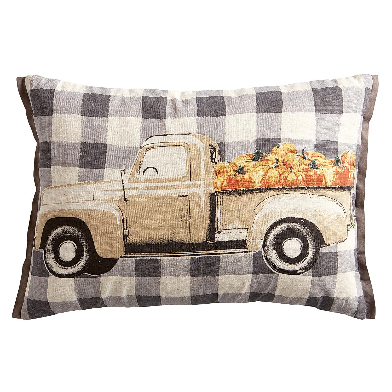 Pumpkin Truckload Check Lumbar Pillow