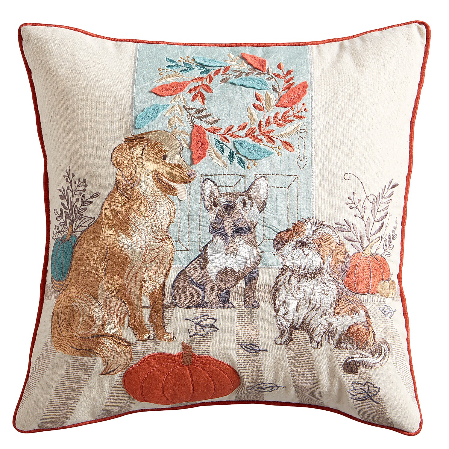 Harvest Dogs on Porch Pillow
