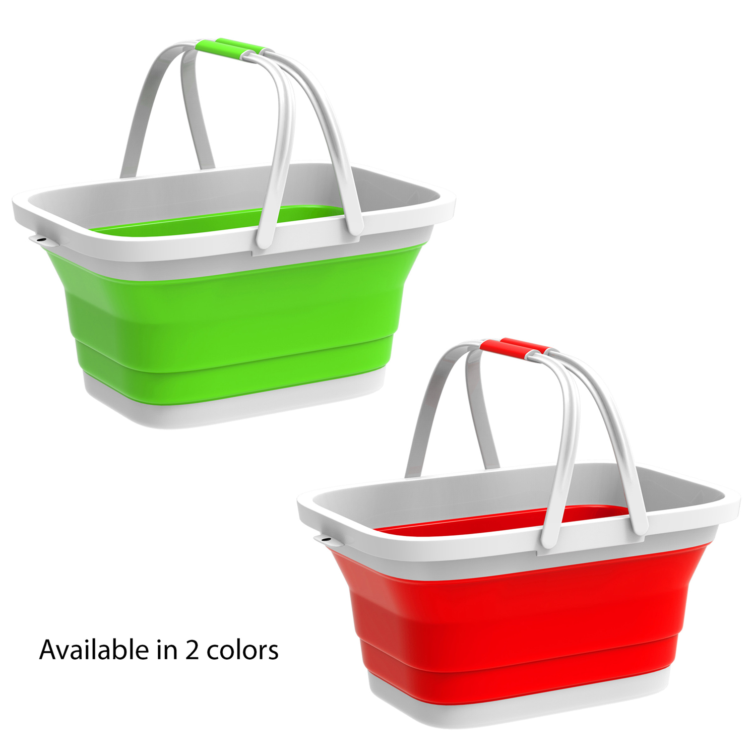 Green Collapsible Basket with Handles