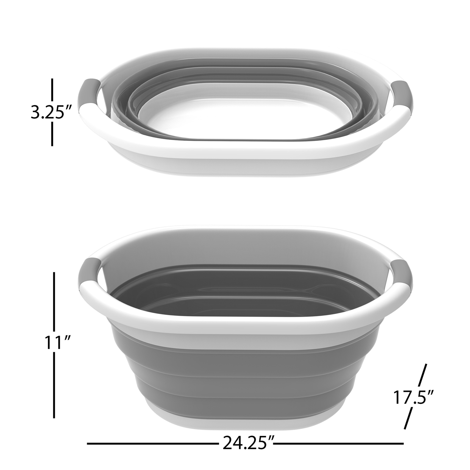 Gray Multi Use Collapsible Wash Basin