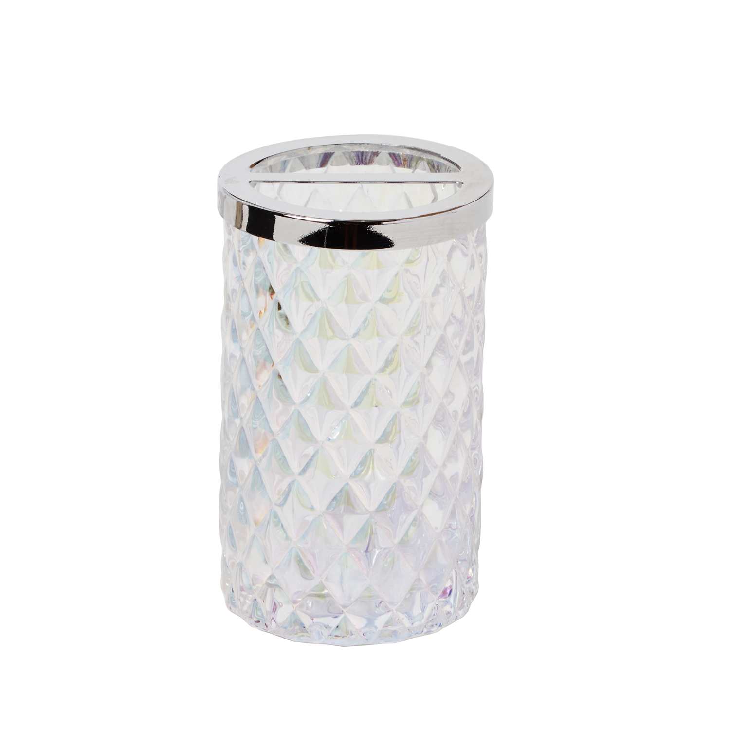 Frosted White Glass Toothbrush Holder