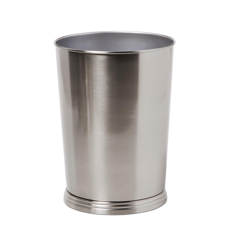 Sleek Nickel Wastebasket