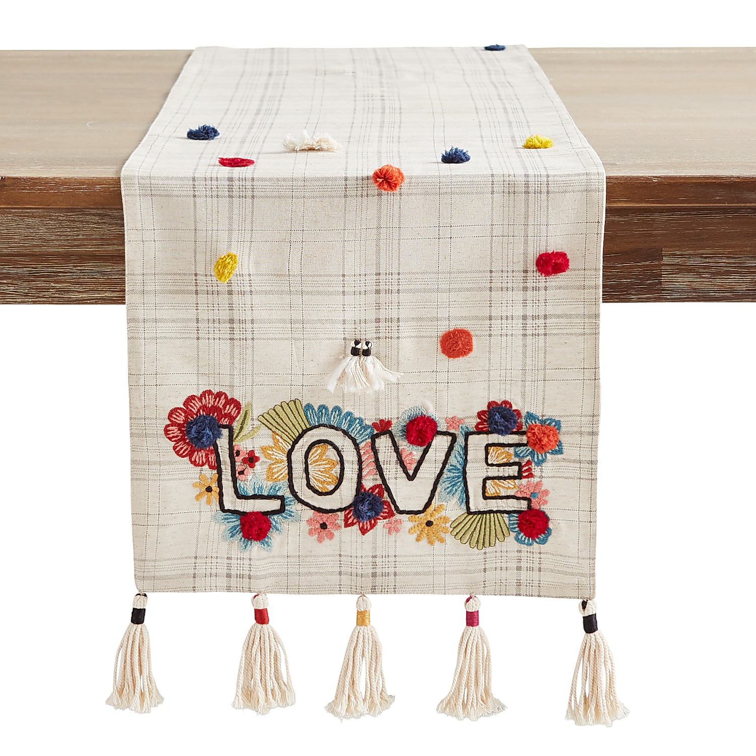 """Embroidered Love 72"""" Table Runner"""