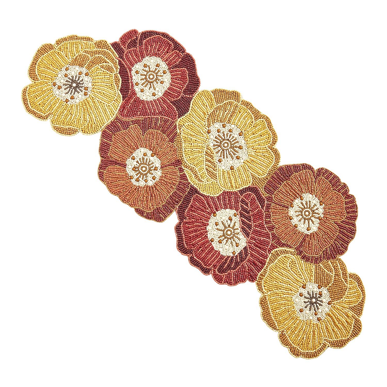 "Floral Sun Beaded 35"" Table Runner"