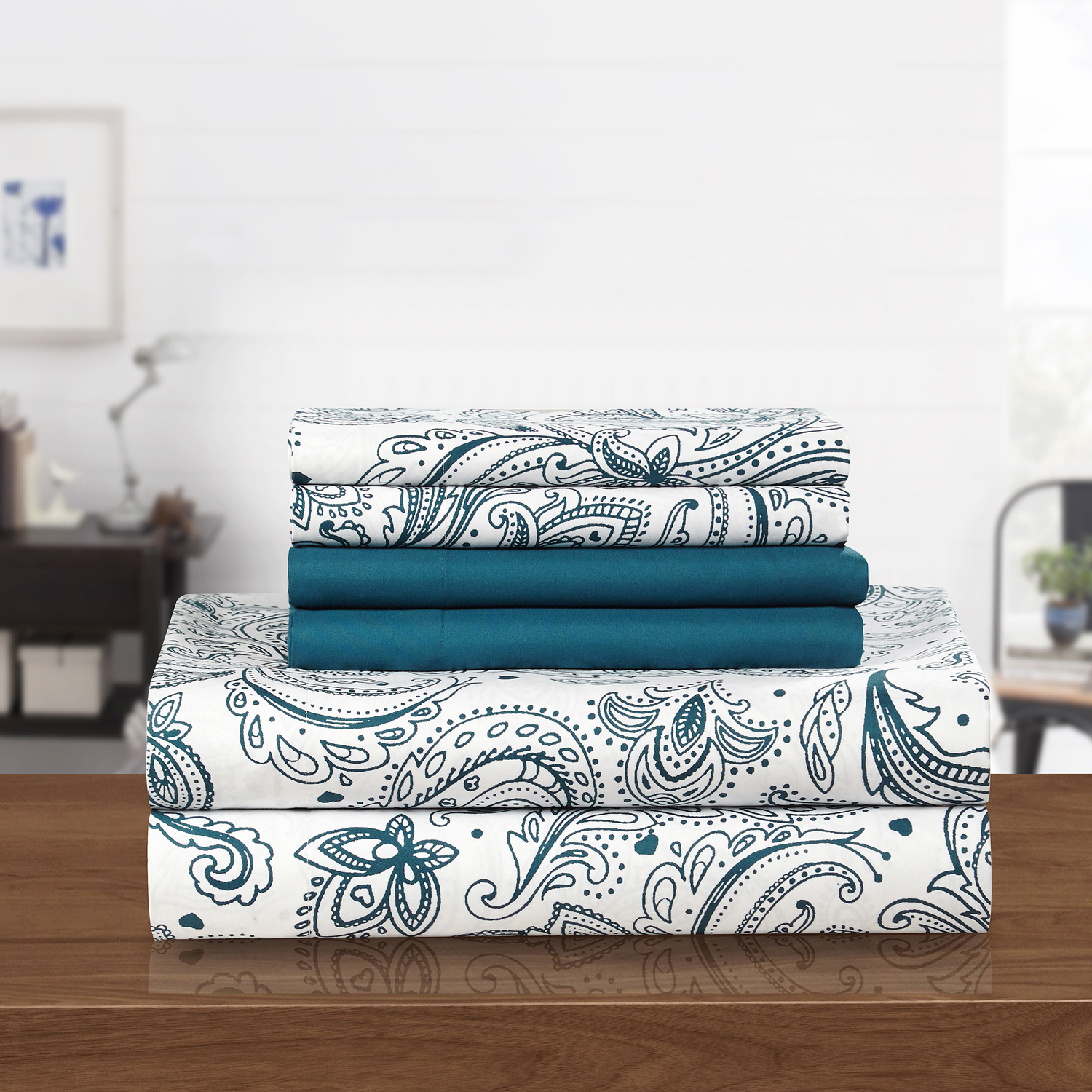 Corsica Blue 4-Piece Twin Sheet Set
