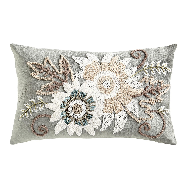 Neutral Flowers Gray Lumbar Pillow