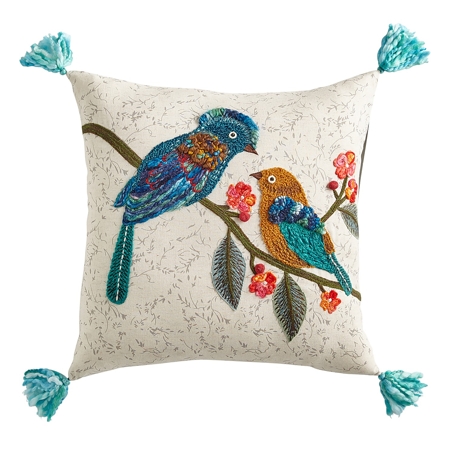 Two Birds on Branches Pillow with Tassels