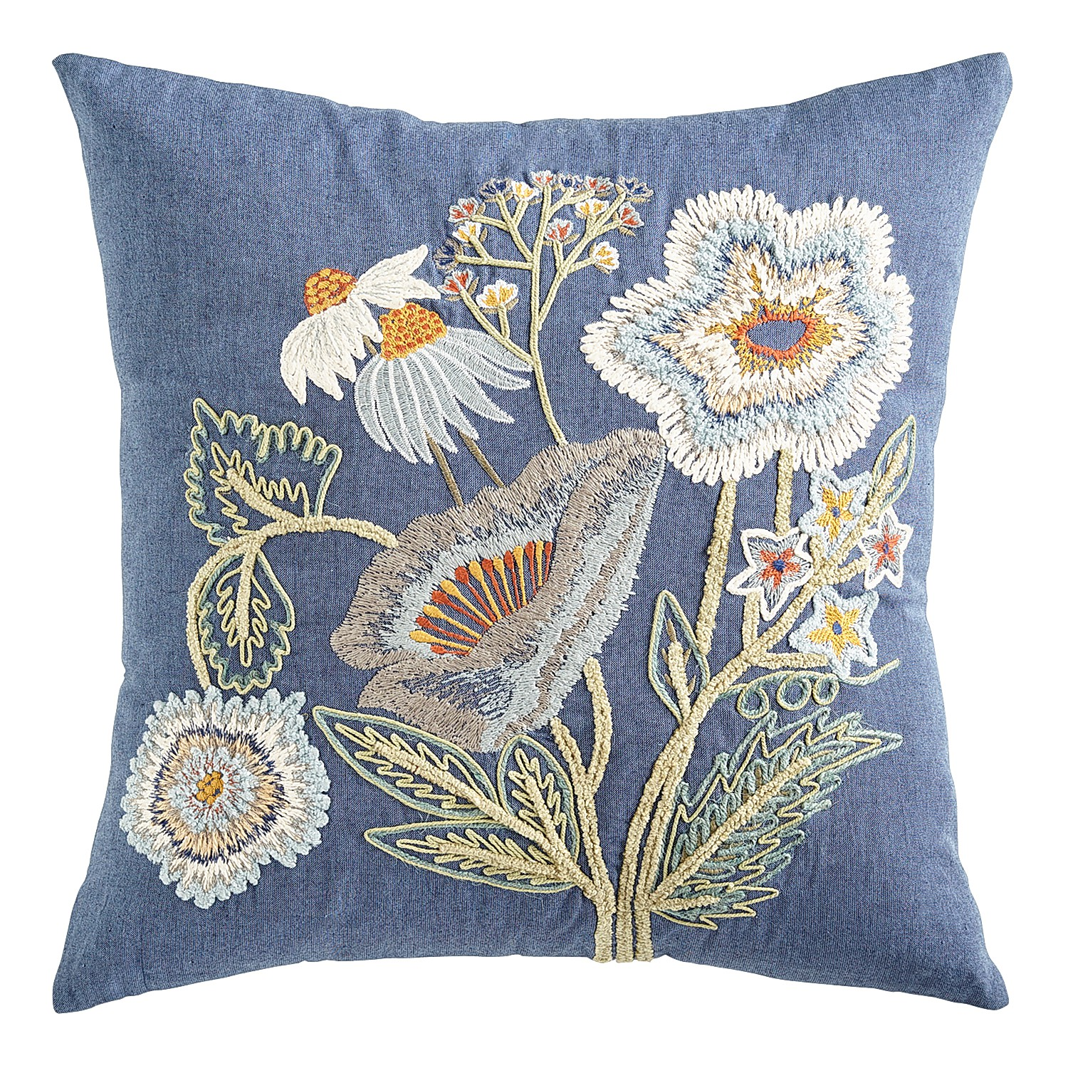 Embroidered Poppies Blue Pillow