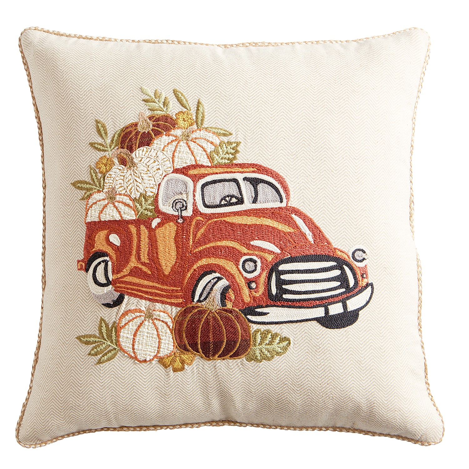 Embroidered Pumpkins in Truck Pillow