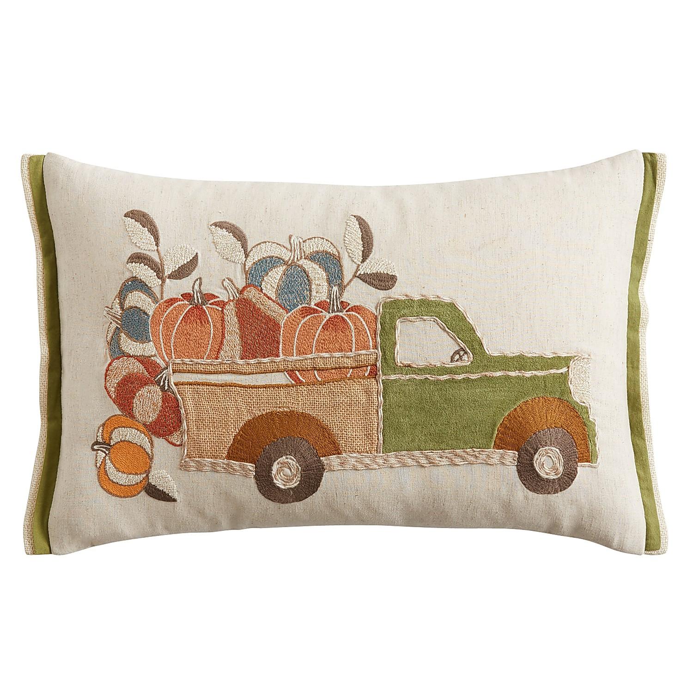 Harvest Truck with Pumpkins Lumbar Pillow