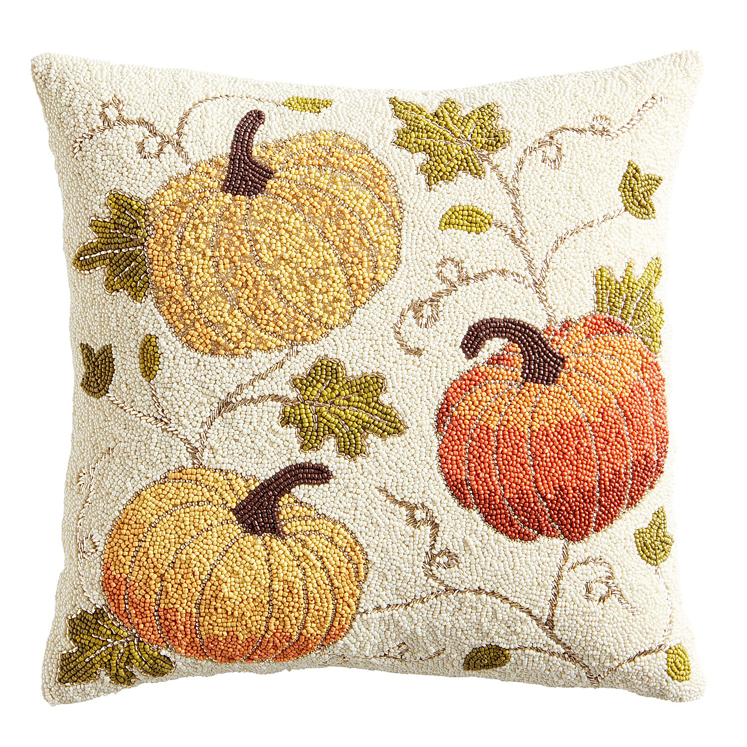 Beaded Pumpkins Pillow