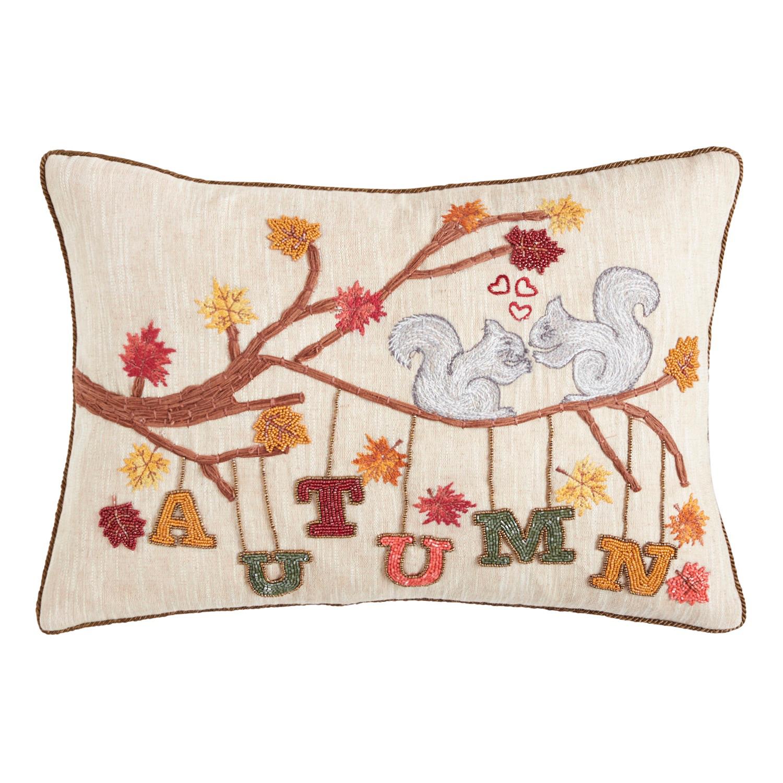 Embroiderd Autumn Squirrels Lumbar Pillow