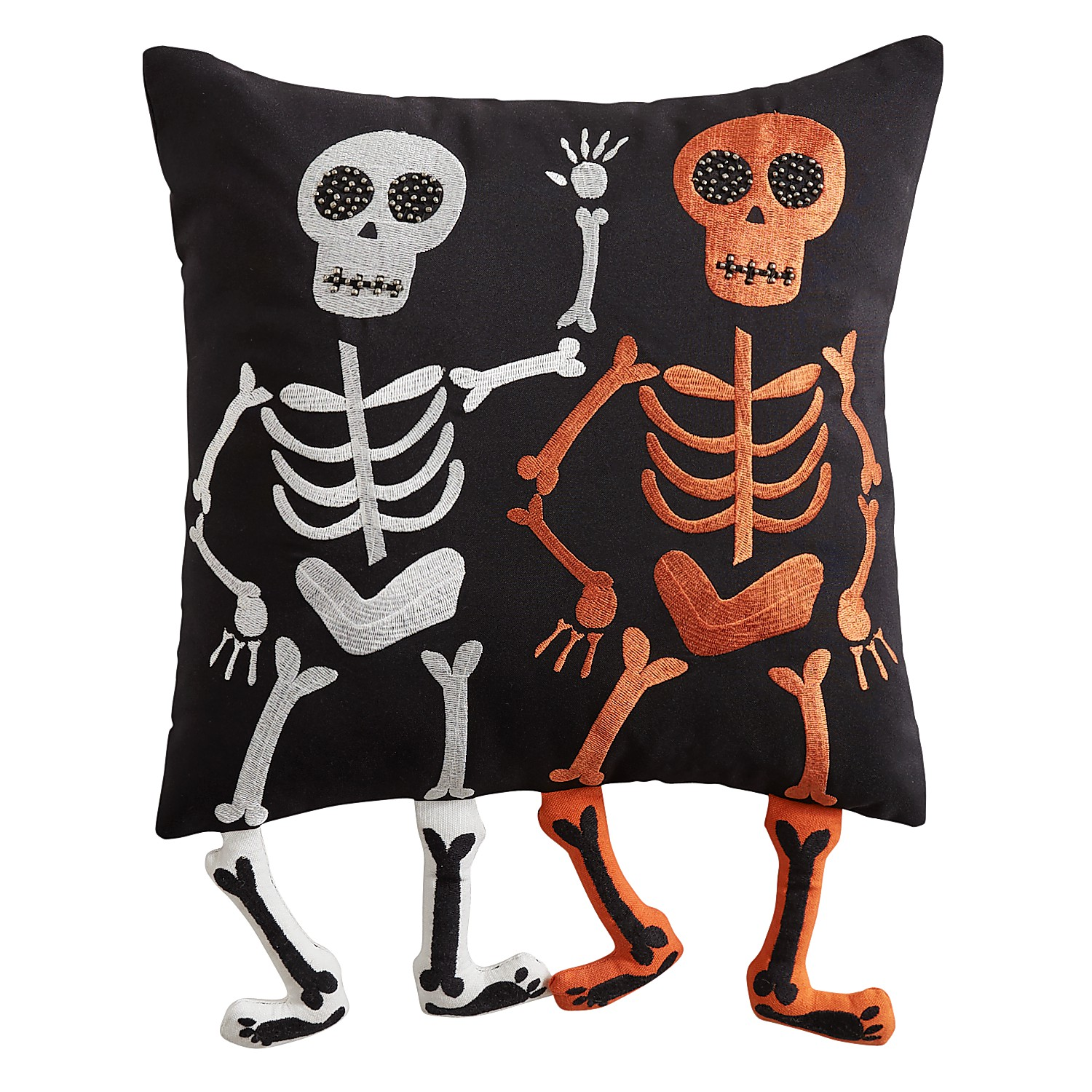 Skeleton with Dangling Legs Pillow