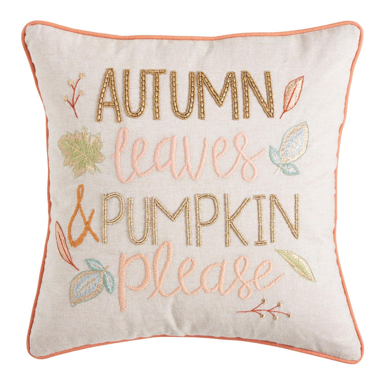 Autumn Leaves Pumpkin Please Pillow
