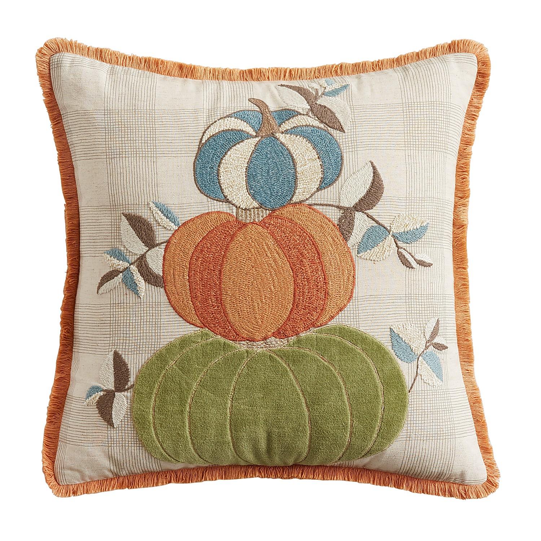 Harvest Pumpkin Stack Gingham Pillow