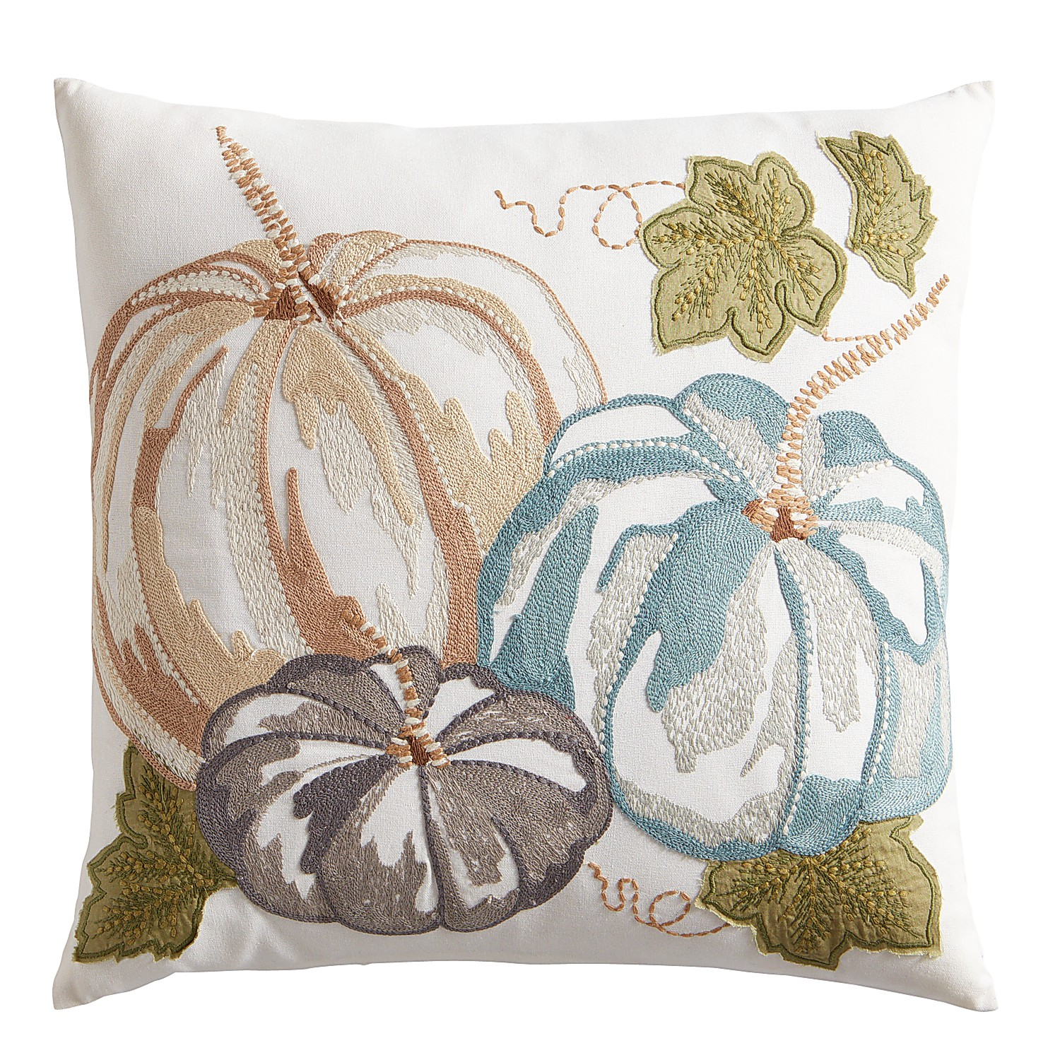 Embroidered Autumn Bliss Pumpkin Pillow