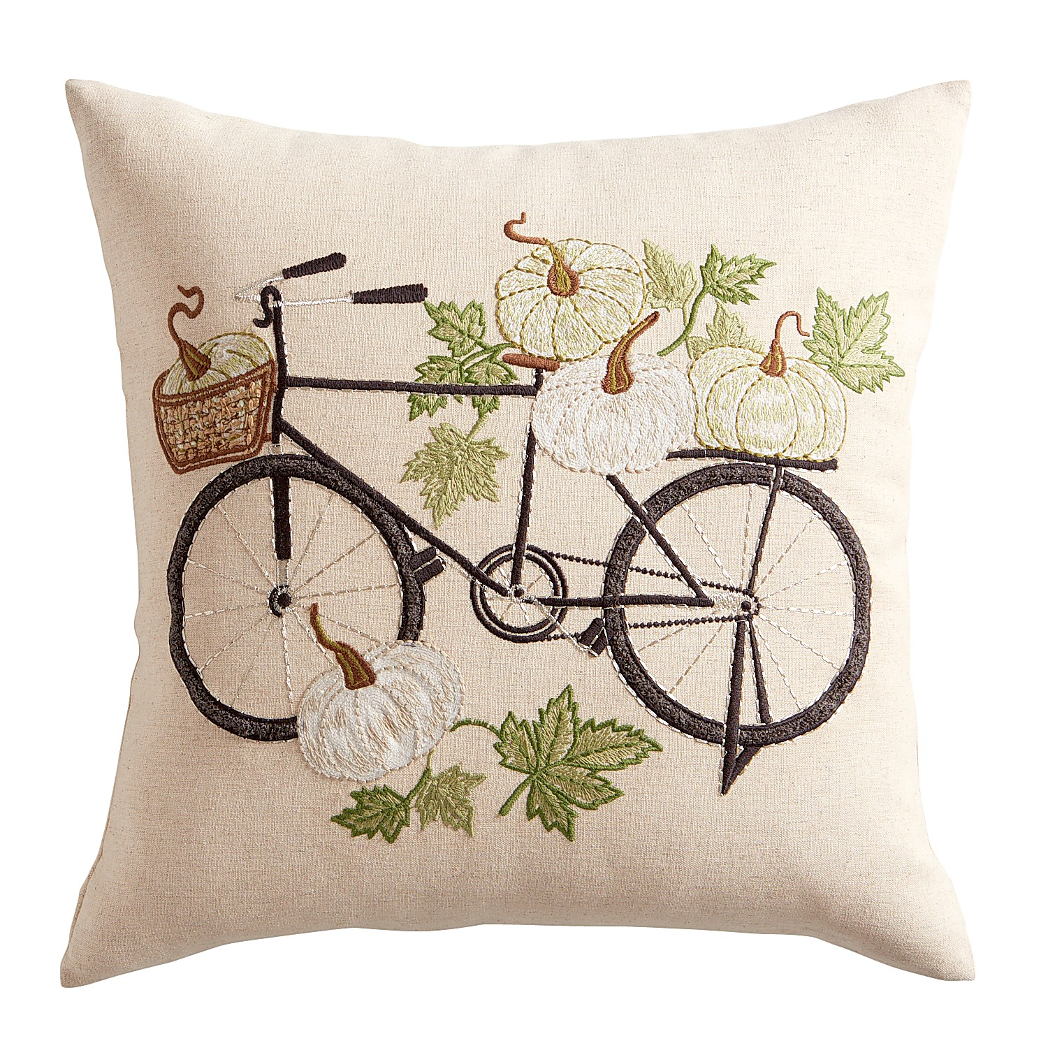 Embroidered Pumpkin Bicycle  Pillow