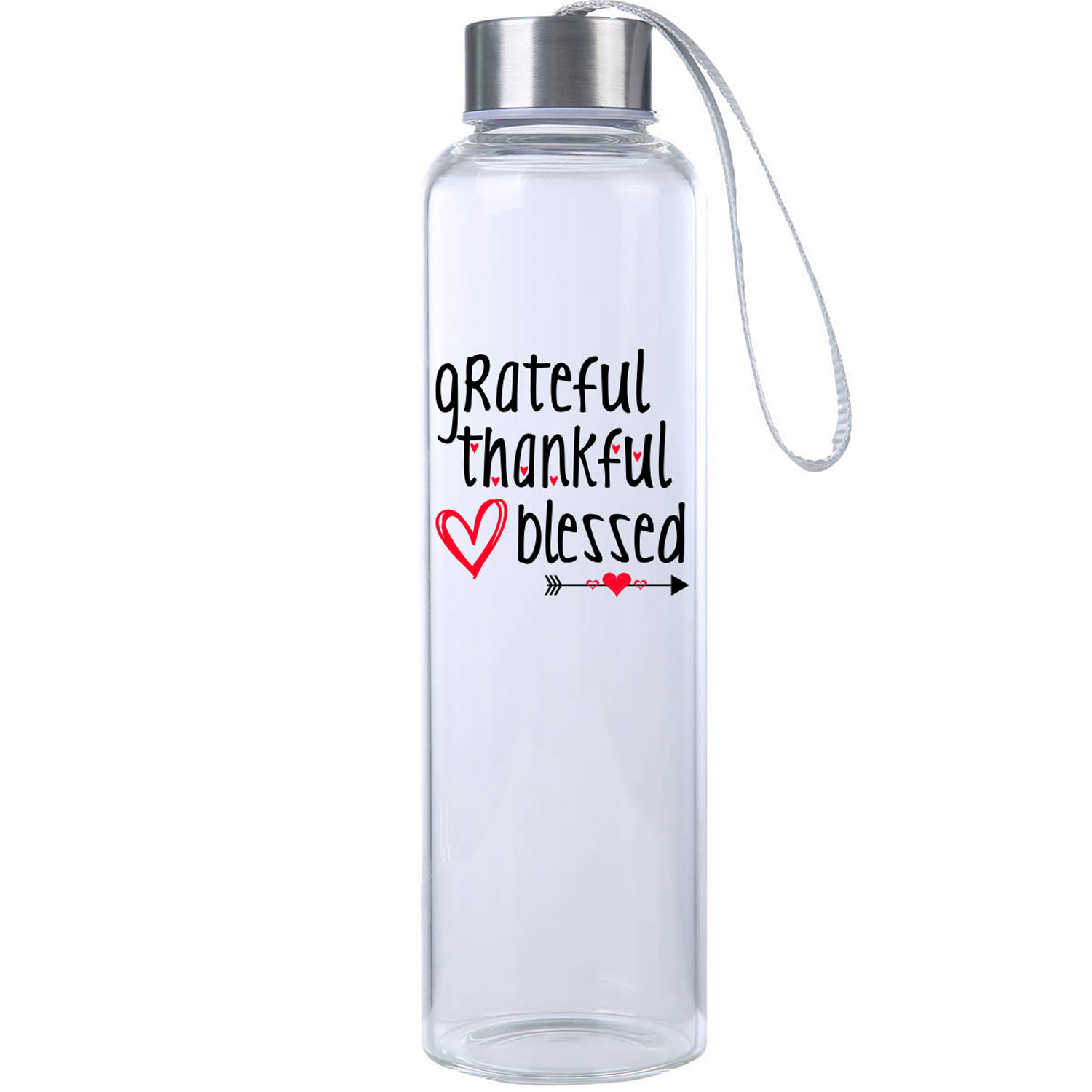 Grateful Thankful Blessed Glass Water Bottle