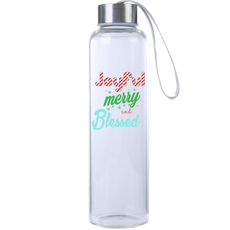 Joyful Merry & Bright Glass Water Bottle