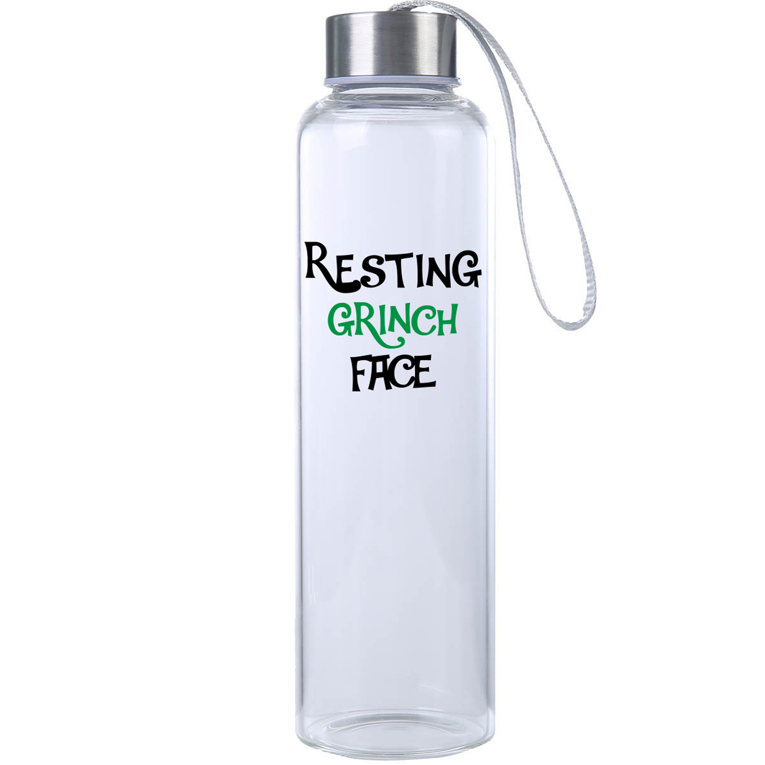 Resting Grinch Face Glass Water Bottle