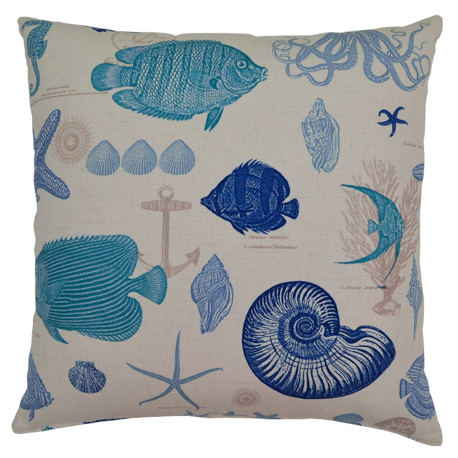 By The Sea Blue Pillow