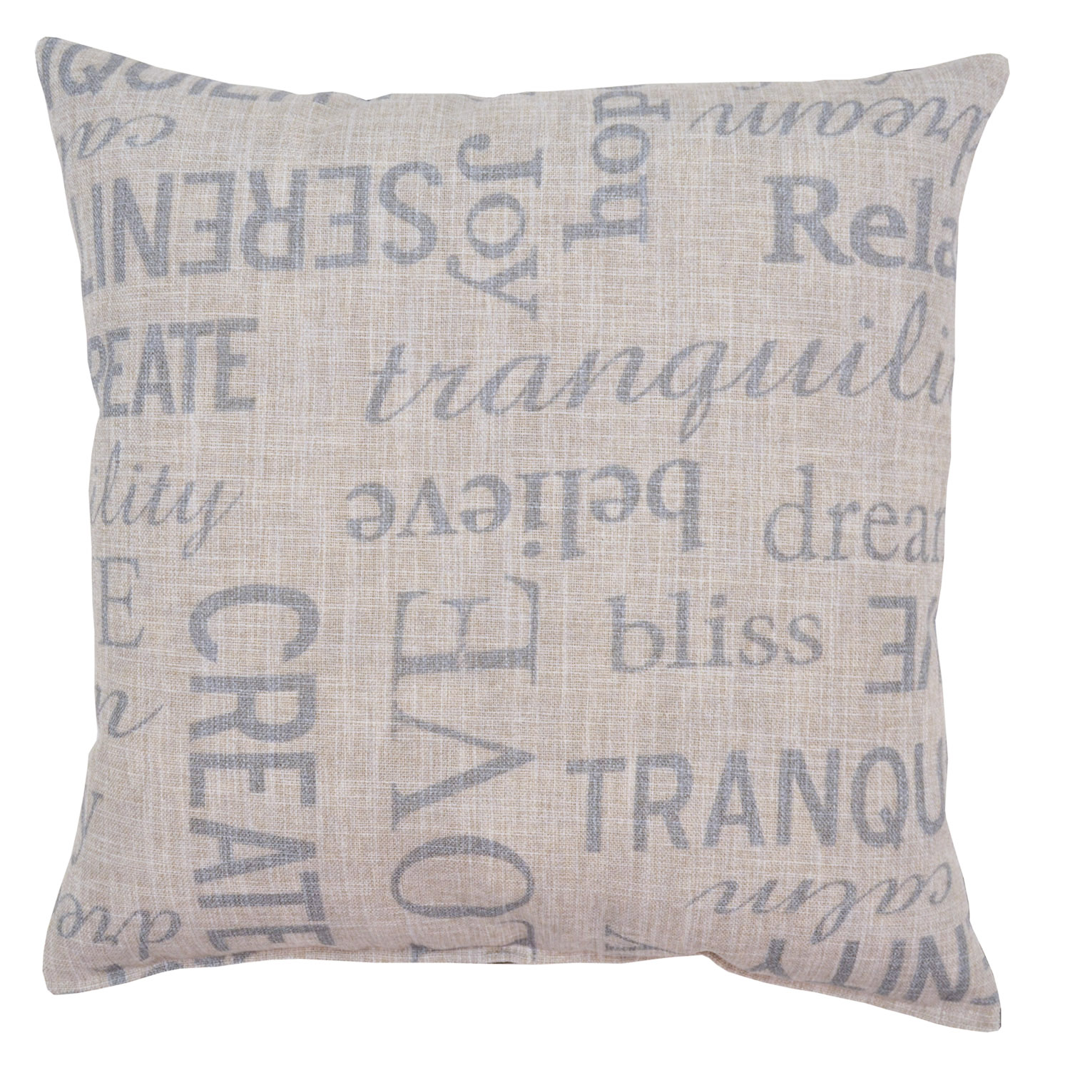 Gray Printed Letters Pillow