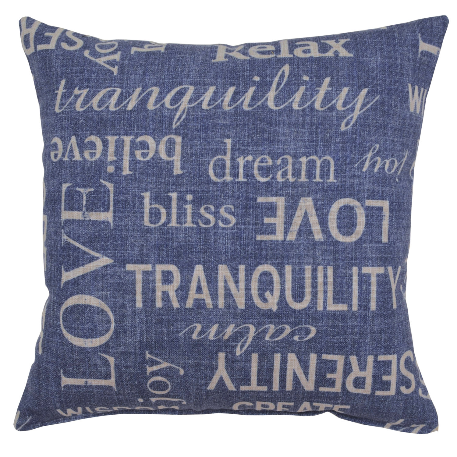 Navy Printed Letters Pillow