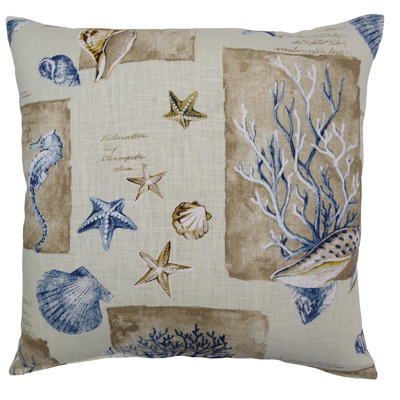 Seashells Blue Ramie Pillow