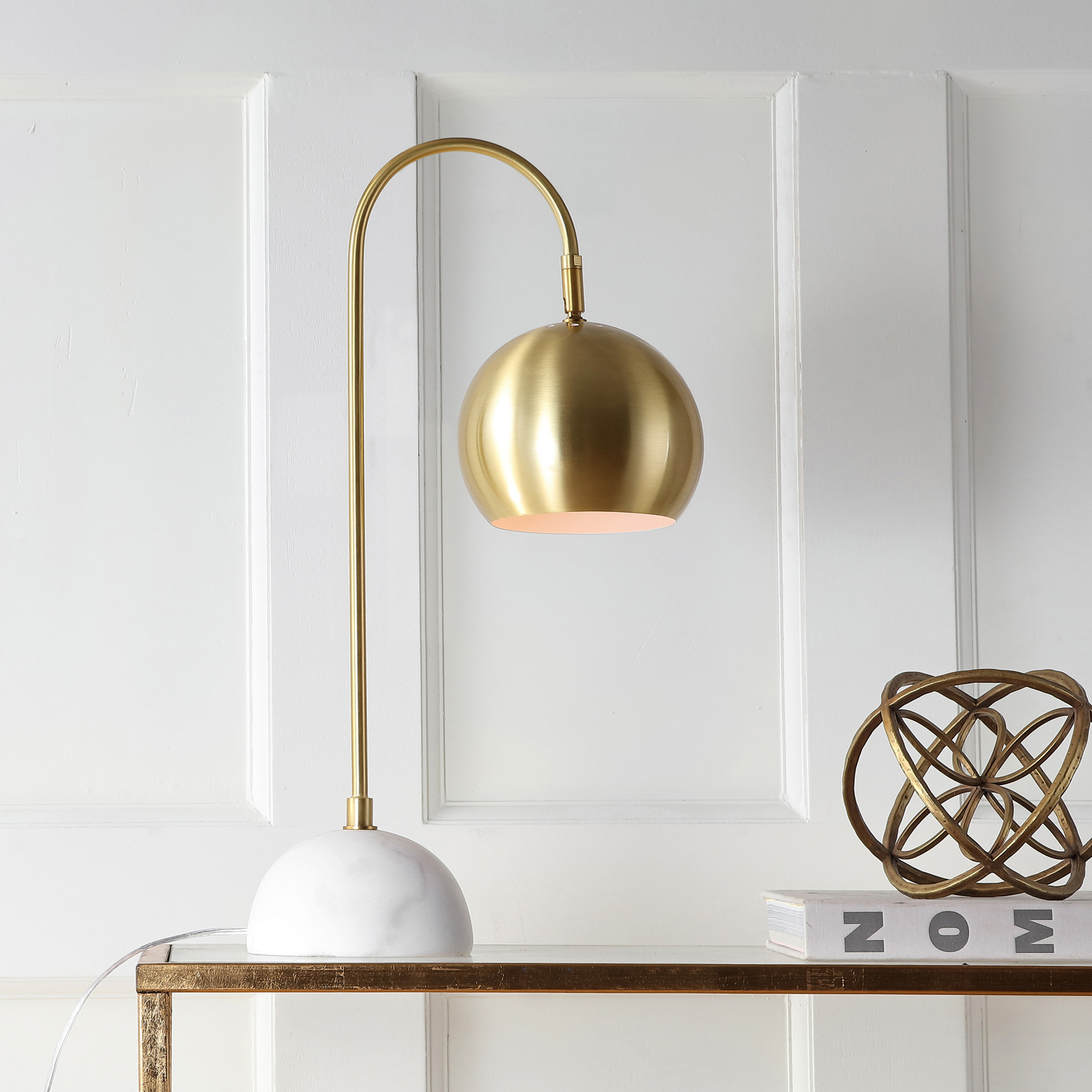 LED Brass & Marble Table Lamp