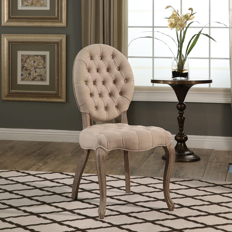 Paris Vintage Wheat Linen Tufted Dining Chair