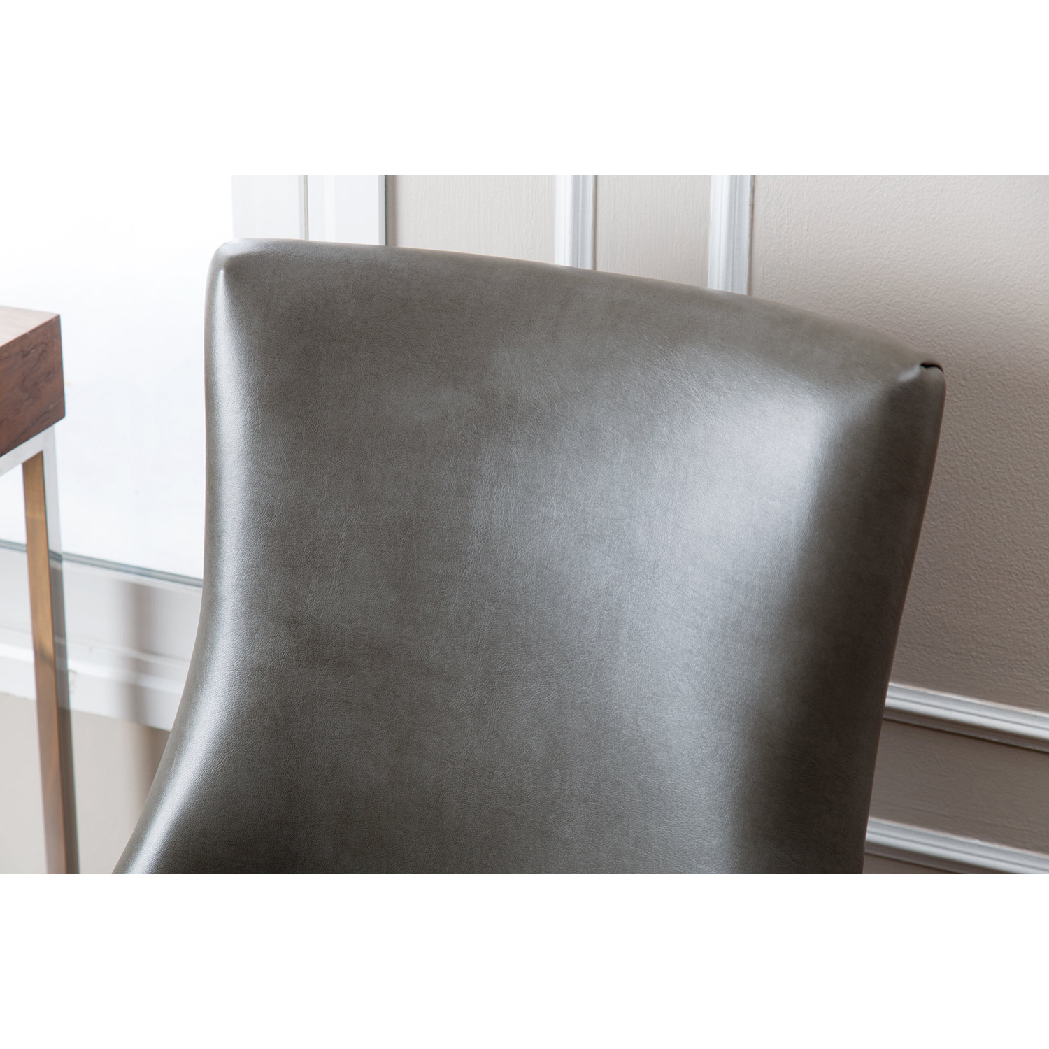 Palma Gray Leather Dining Chair