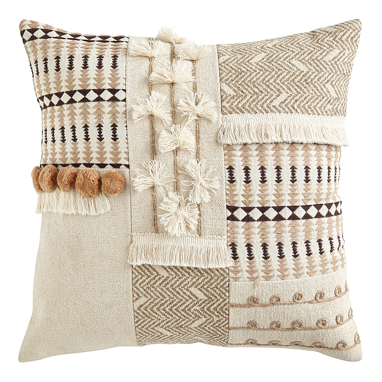 Textured Natural Patchwork Pillow