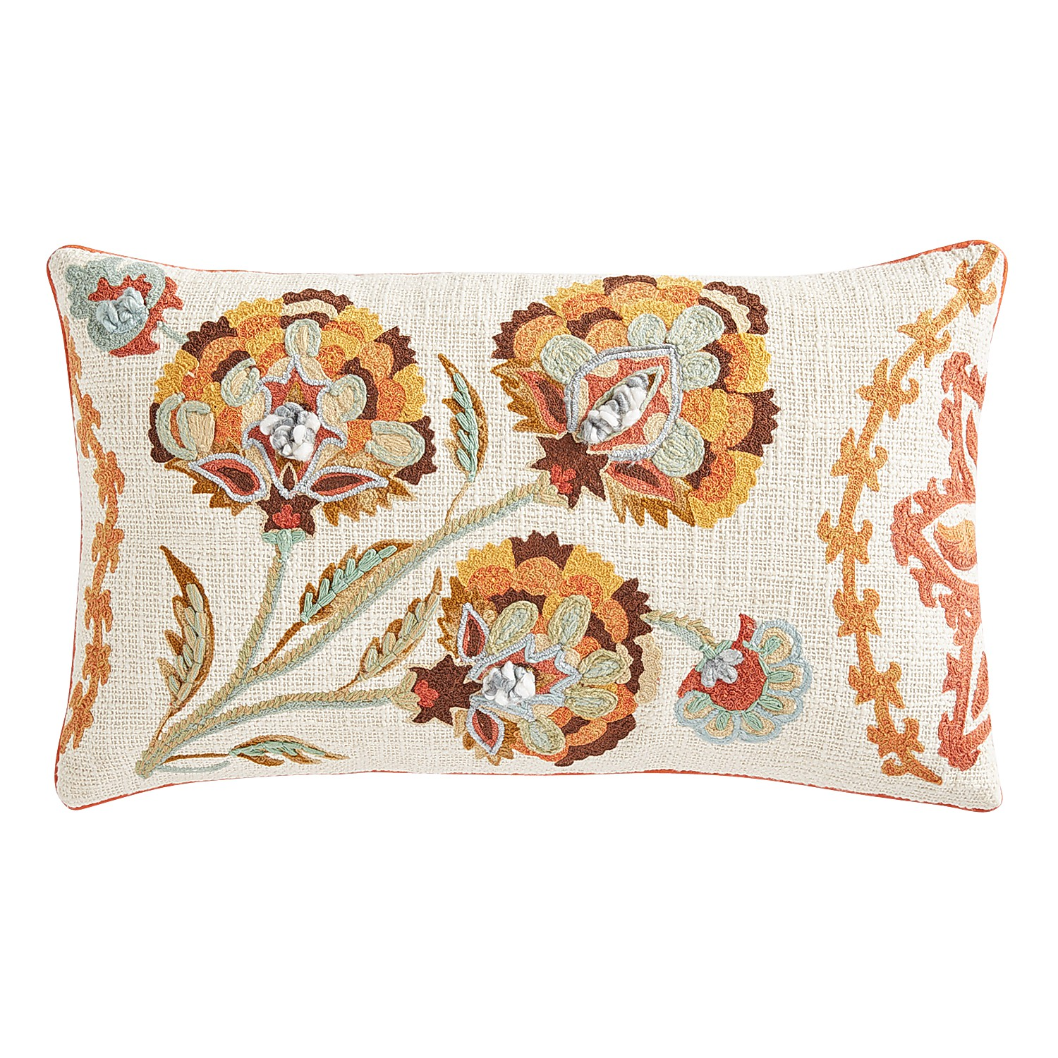 Jacobean Medallion Floral Lumbar Pillow