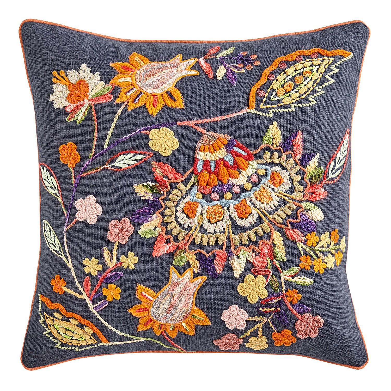 Jacobean Floral Blue Pillow