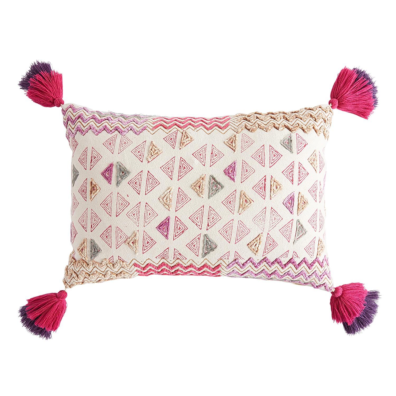 Boho Geometric Zigzag Pillow with Tassels