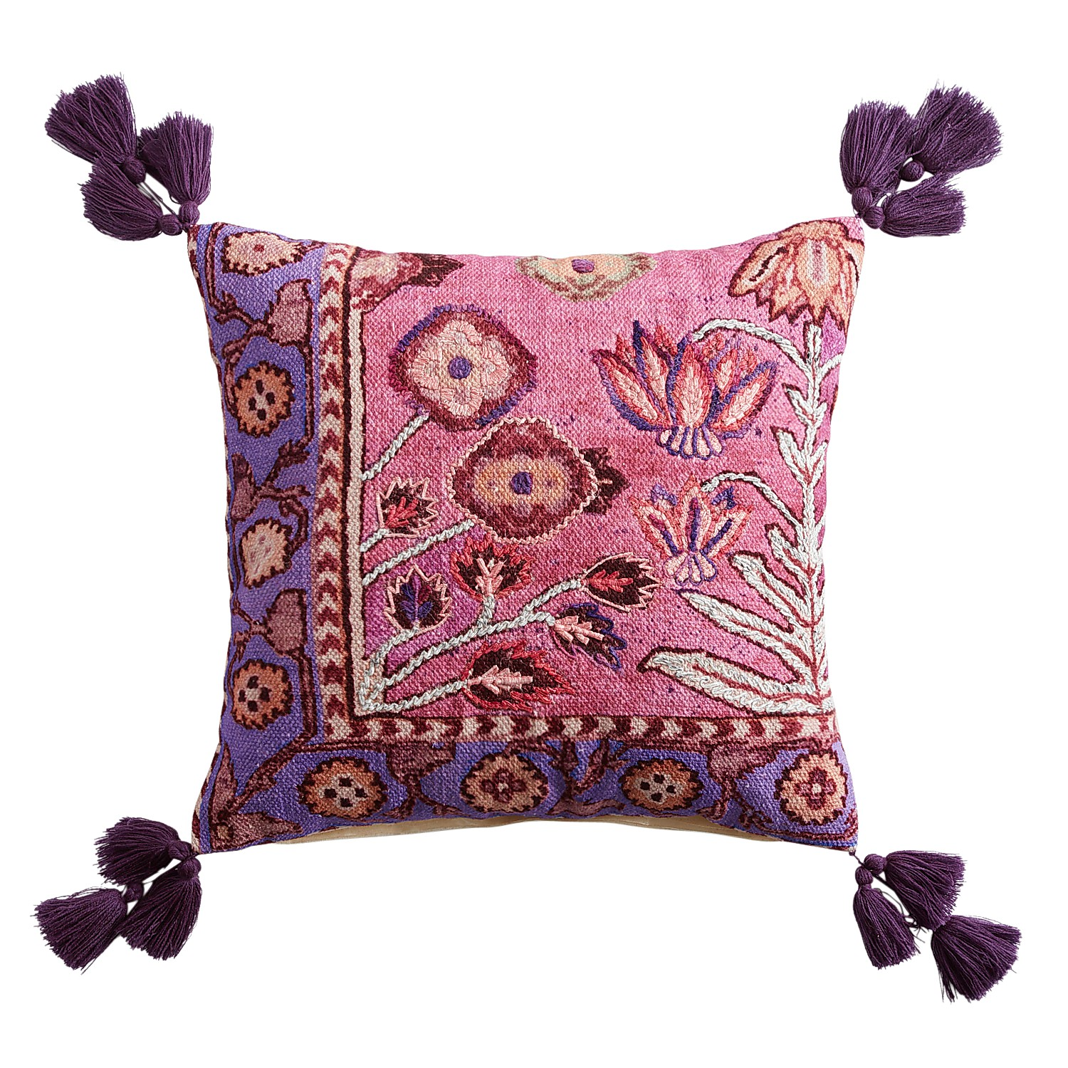 Boho Aztec Floral Pillow with Tassels