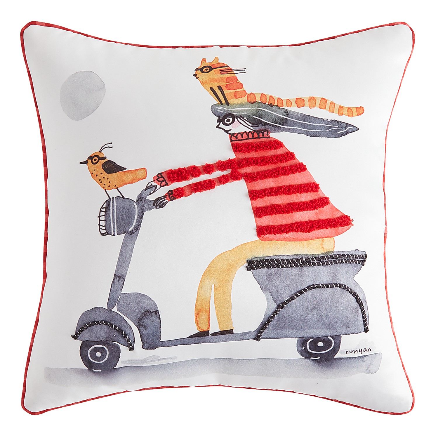 Cat Scooter Pillow with Piping