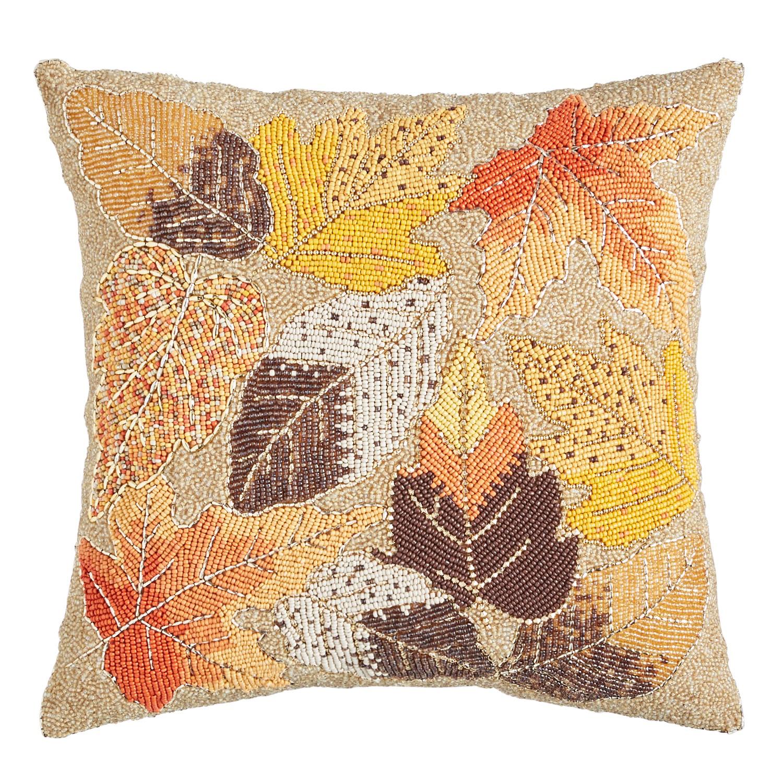 Beaded Fall Leaves Pillow