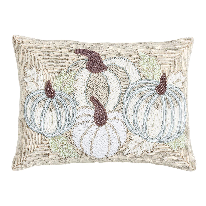 Beaded Hush Harvest Neutral Pillow