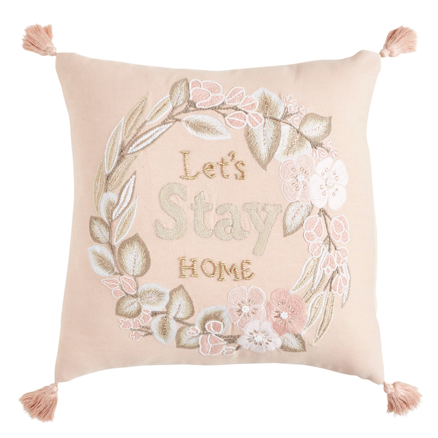 Let's Stay Home Blush Pillow with Tassels