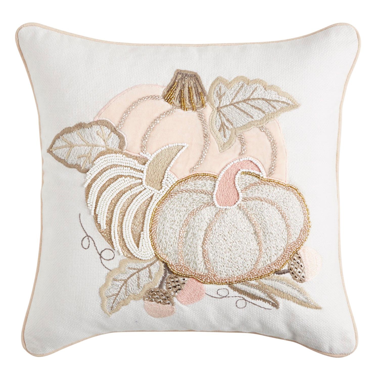 Beaded Glam Pumpkins Blush Pillow